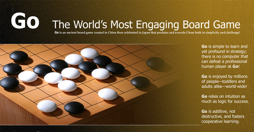 'GO: The World's Most Engaging Board Game', poster.